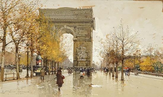 Eugène Galien-Laloue (French 1854-1941), View of the Arc de Triomphe , gouache with white heightening on paper, sight size: 7 x 12 in