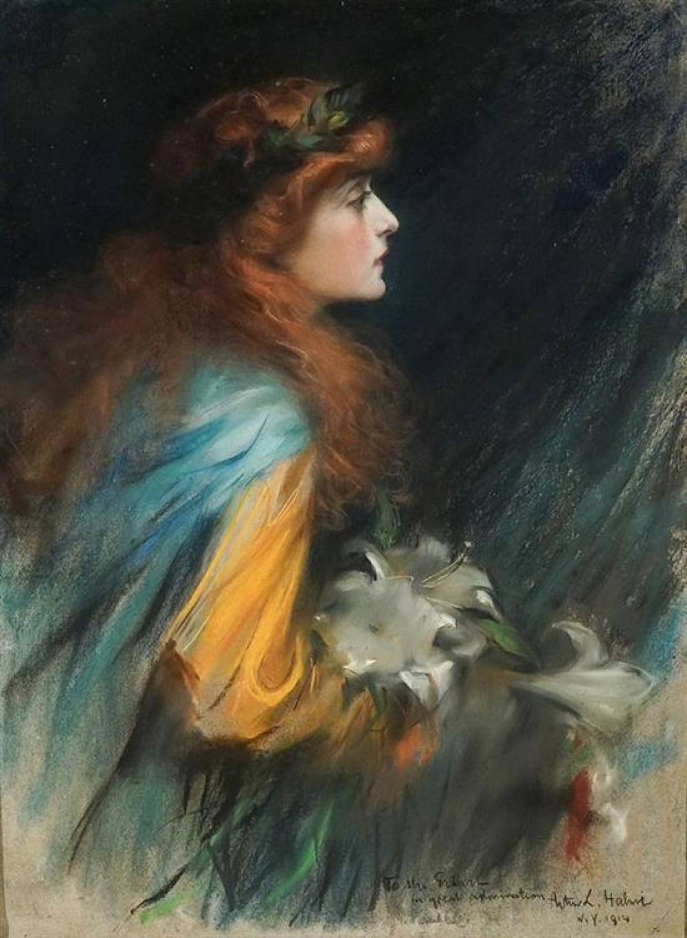 Artur Lajos Halmi (Hungarian 1866-1939), Portrait of a Woman with Red Hair Holding Lilies, Signed Pastel on Paper laid on Canvas