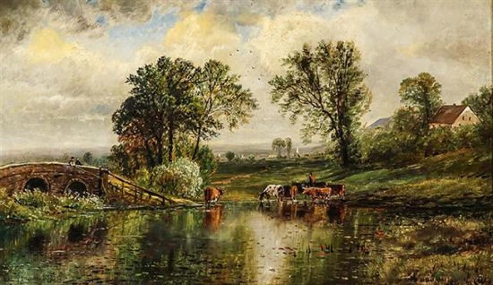 Edmund Darch Lewis (American 1835-1910), Cows Watering Beside a Stone Bridge, Signed Oil on Canvas mounted on Board, 16 x 27 inches