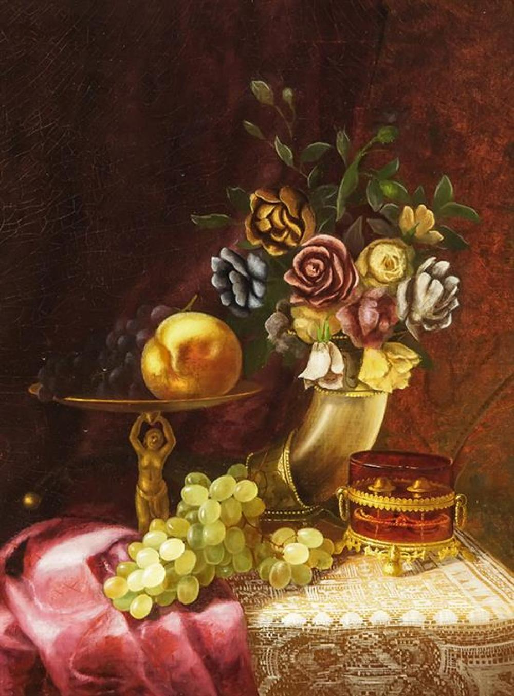 Morston Constantine Ream (American 1840-1898), Still Life with Grapes and Roses