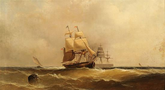 Franklin Dullin Briscoe (American 1844-1903), Tall Ship at Sea