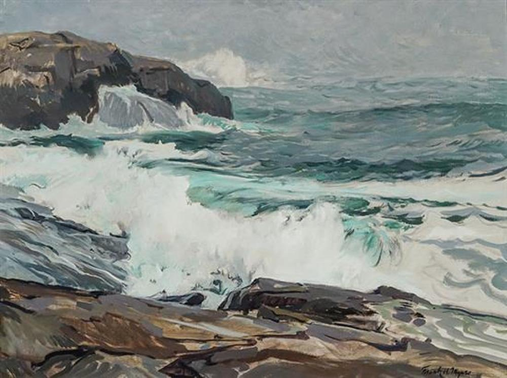 Frank Harmon Myers (American 1899-1956), Fog at Sea, Signed Oil on Canvas mounted on Masonite, 24 x 32 inches