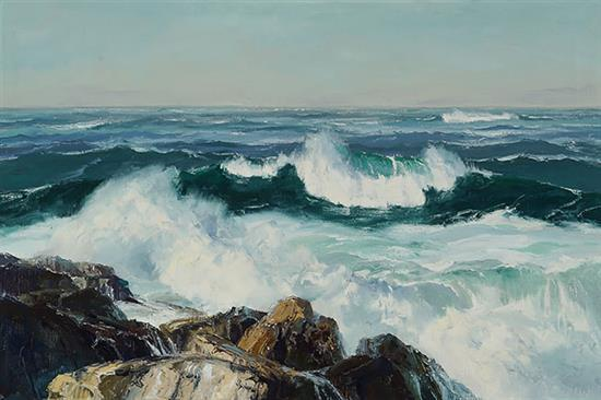 Bennett Schroeder Bradbury (American 1914-1991), Morning Tide, Signed Oil on Canvas, 20-1/4 x 30 inches