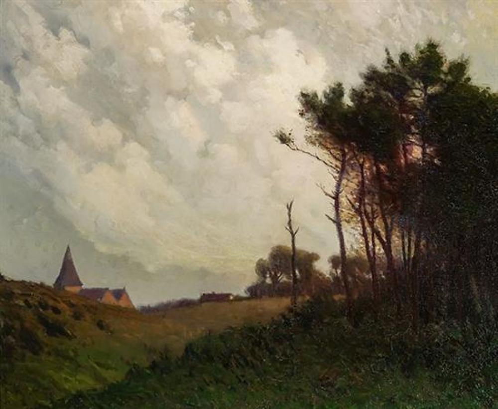 William Jurian Kaula (American 1871-1953), Landscape in Normandy, Oil on Canvas, 23-1/2 x 28-3/4 inches