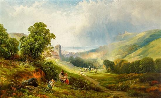 Edward Moran (American 1829-1901), Country Landscape with Stone Church and Flock of Sheep, Oil on Canvas mounted on Masonite