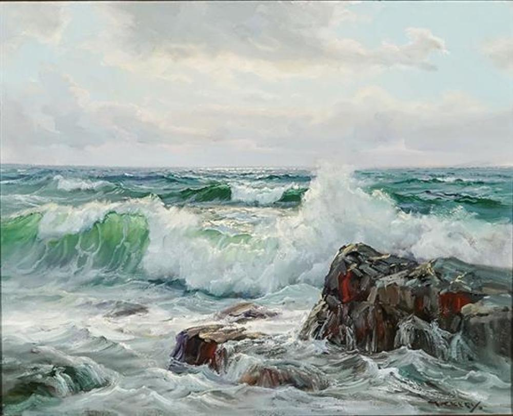 Charles Vickery (American 1913-1998), Waves Crashing on a Rocky Shore, Signed Oil on Canvas, 16 x 20 inches