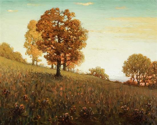 Clark Summers Marshall (American 1861-1944), Autumn Trees on a Hillside