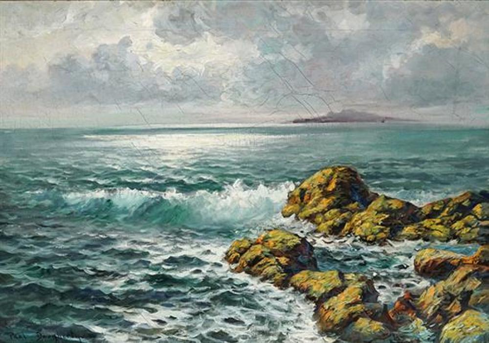 Paul Dougherty (American 1877-1947), Rocks and Surf at Sunset, Signed Oil on Canvas, 18-1/2 x 26-3/4 inches