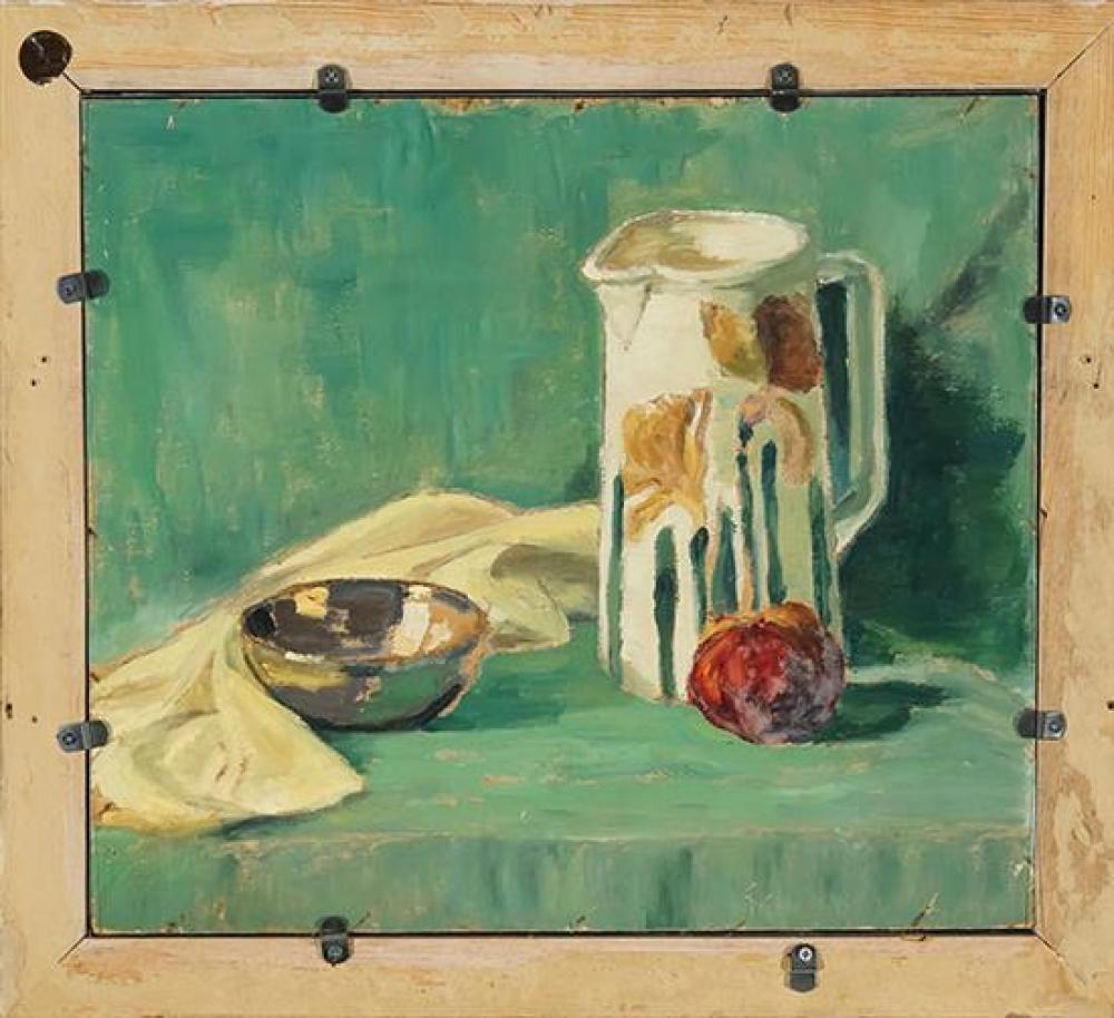 Emile Albert Gruppe (American 1896-1978), Still Life with Blue Vase and Apple, Signed Oil on Board, 15 x 18 inches