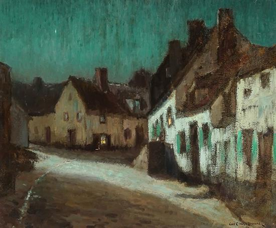 George Elmer Browne (American 1871-1946), Brittany Village, Night, Signed Oil on Canvas, 21-1/2 x 26 inches