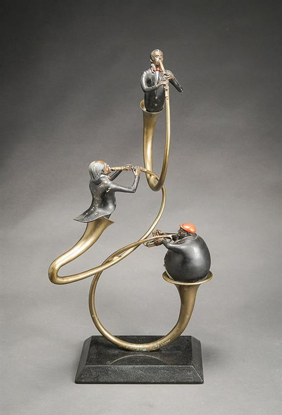 Paul Wegner (American b. 1950), Three French Horn Players, Signed Bronze Sculpture, H: 28-3/4 inches