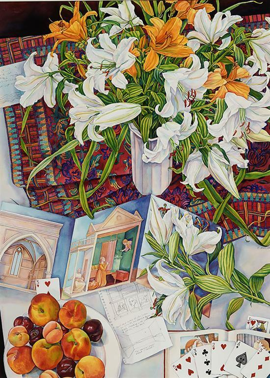 Susan Abbott (American b. 1951), White Lilies and Folded Paper, Signed Watercolor and Graphite on Paper, 30 x 40 inches