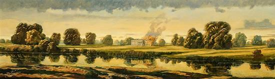 Peter Waddell (American b. 1955), The Burning of the White House, Signed Oil on Canvas, 22 x 72 inches
