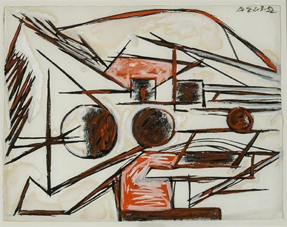 David (Roland) Smith (American 1906-1965), Untitled (Sculpture), Signed Mixed Media with White Heightening on Paper