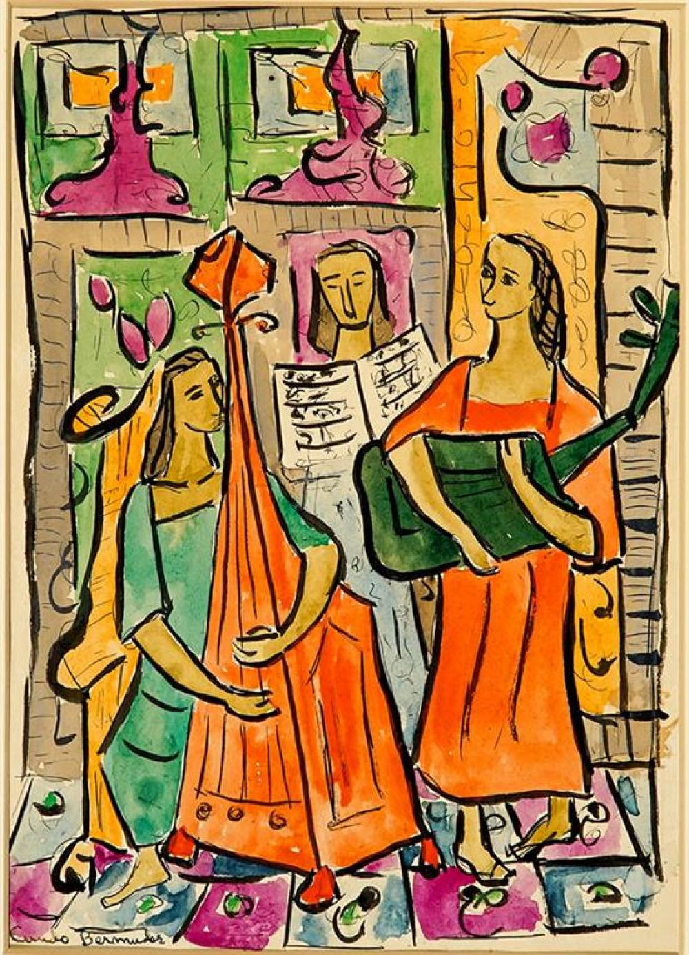 Cundo Bermúdez (Cuban 1914-2008), Musicians, Signed, Watercolor and Ink on Paper, 10-1/4 x 7-1/2 in