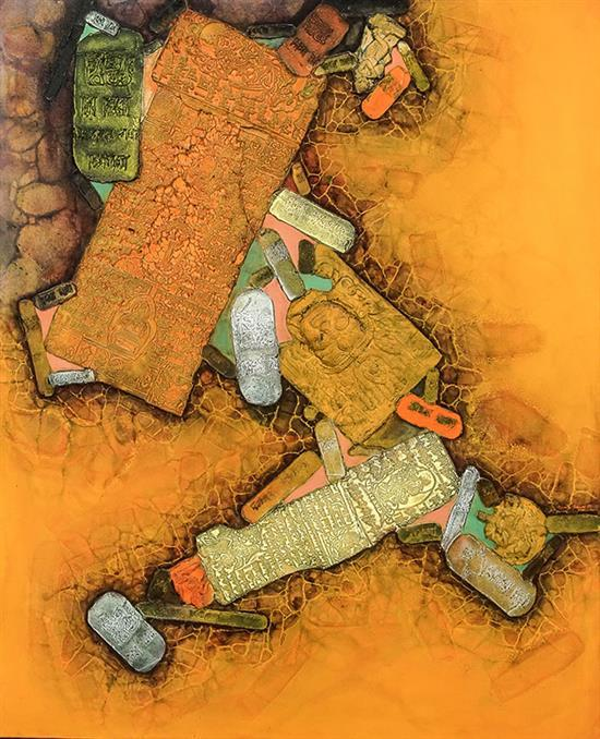 Shantilal (Shanti) Somnath Dave (Indian b. 1931), Untitled Abstract, Signed Oil and Molded Plaster on Canvas, 52 x 42 inches