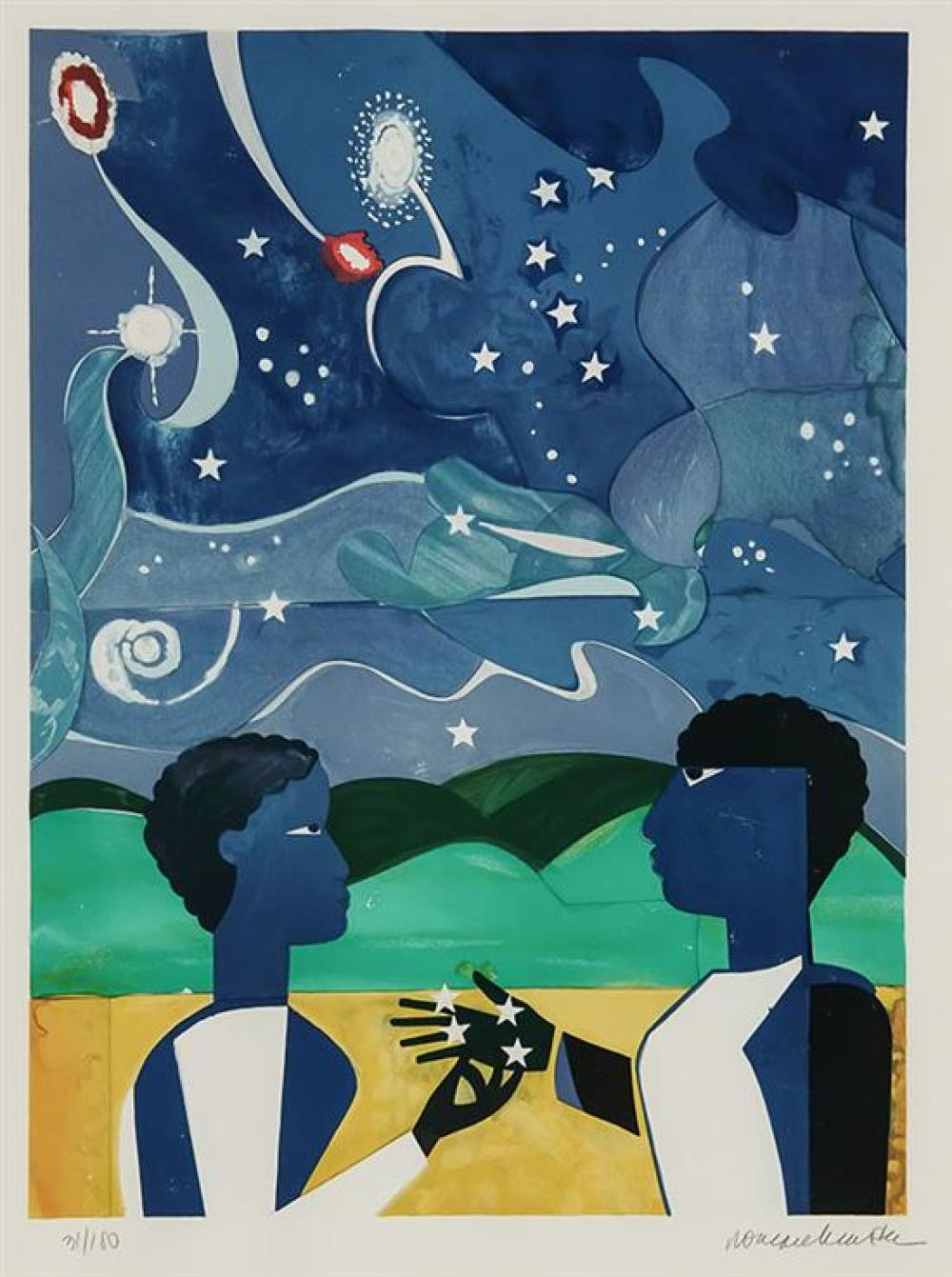 Romare Bearden (American 1911-1988), Two Worlds, Lithograph in Color, 21-1/4 x 15-1/2 inches