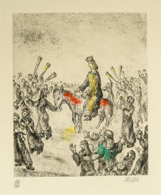 Marc Chagall (French/Russian 1887-1985), Solomon Proclaimed King of Israel from Le Bible, Etching in Color, 11-3/4 x 9-1/2 inches
