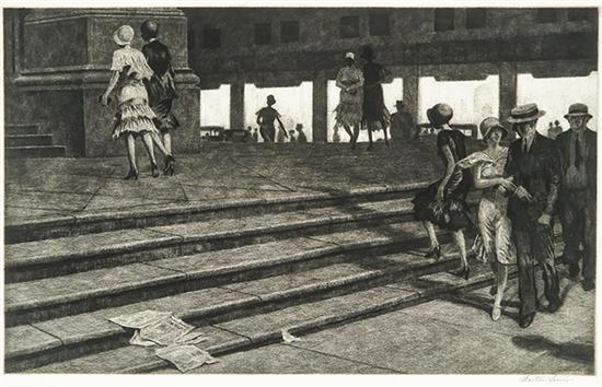 Martin Lewis (American 1881-1962), Cathedral Steps (McCarron 93)