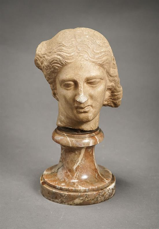 Roman Empire Style Marble Head of a Goddess, Probably Venus Possibly Renaissance Period, 14th-17th Century