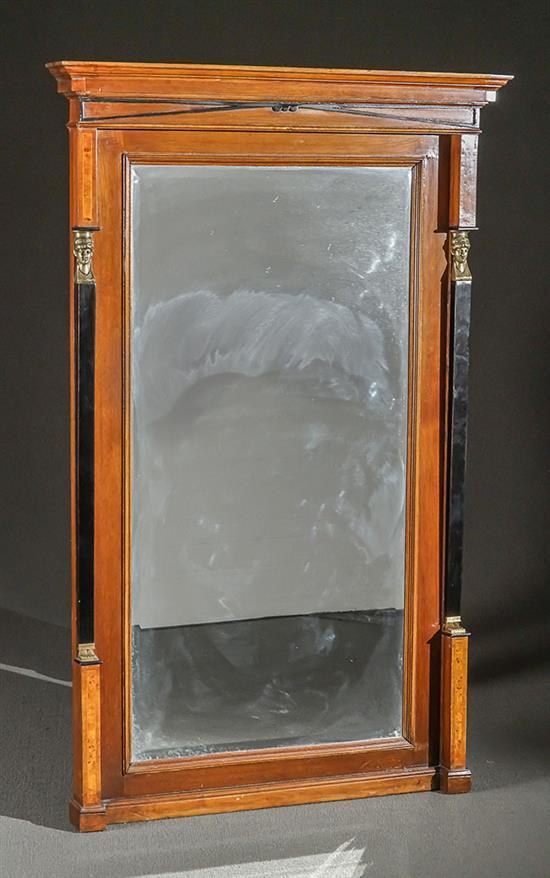 Biedermeier Ormolu Mounted Partial Ebonized Burlwood and Walnut Pier Mirror Last Half 19th Century