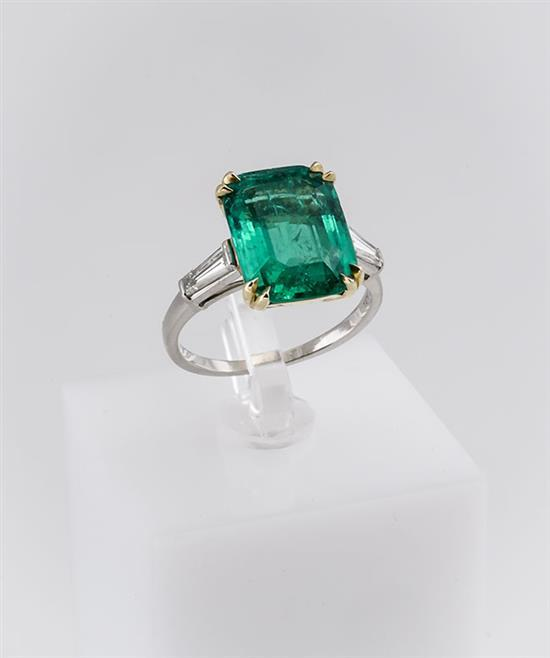 Platinum, 18-Karat Yellow-Gold, Emerald and Diamond Ring