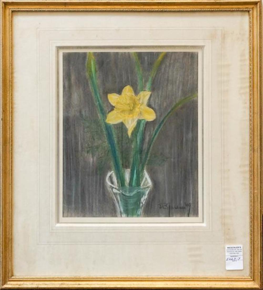 J. Eugene Gardner (American 1904-1999), Spring Daffodil in Vase, Pastel, Frame: 24 x 21 in