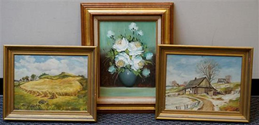 Three Framed Oil Paintings (two landscapes, one still life)
