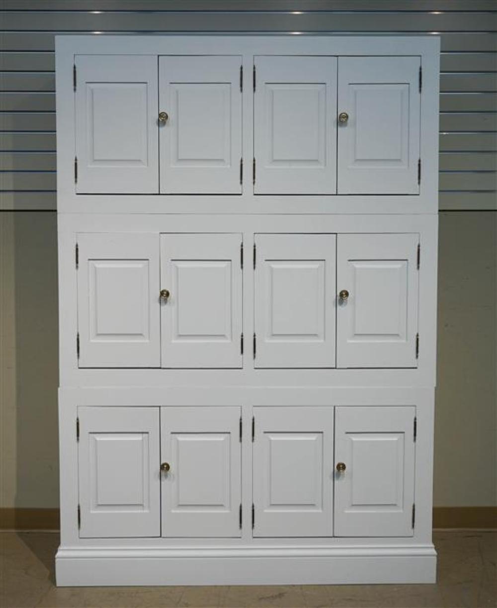 White Enamel Three-Part Side Cabinet