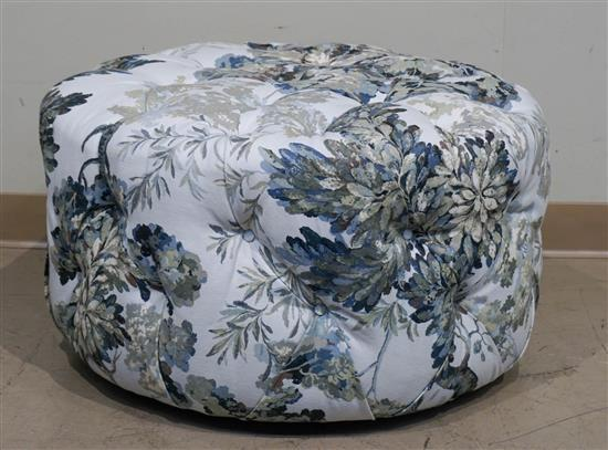 Floral Print Tufted Upholstered Ottoman with Queen Bedding and Pillows