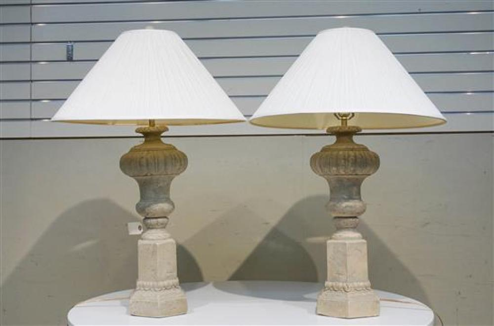 Pair of Beige Plaster Urn-Form Table Lamps