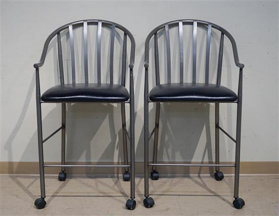 Pair of Patinated Metal Upholstered Seat Breakfast Stools (one seat torn)