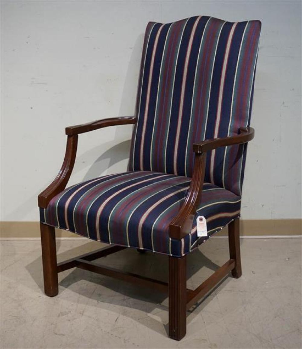 Chippendale Style Mahogany Upholstered Lolling Chair