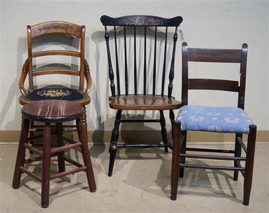Three Assorted Side Chairs and a Stool