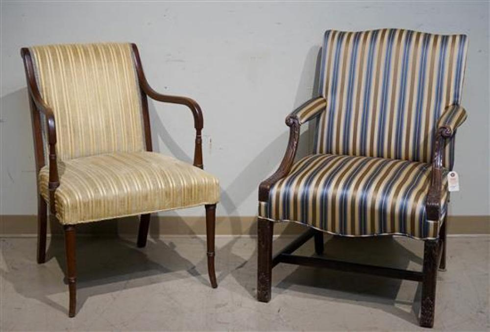 Two Mahogany Upholstered Library Armchairs