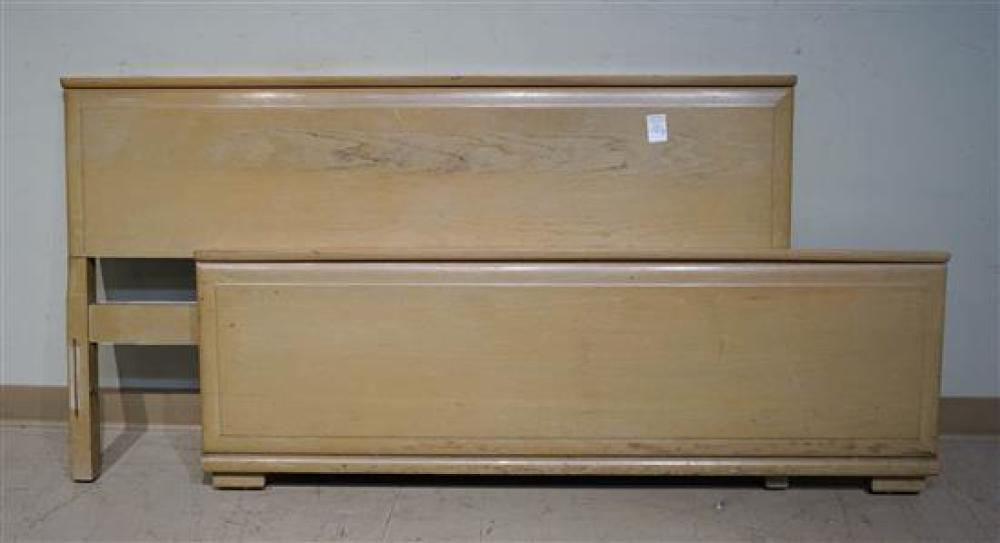 Modern Pickled Oak Double Bed, Dressing Table and an Associated Mirror