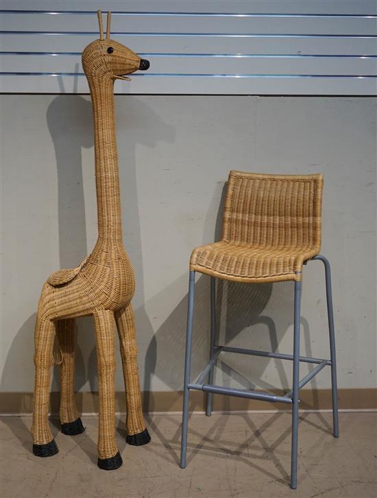 Modern Wicker 'Giraffe' Plant Stand and a Bar Stool