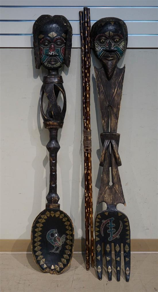 African or Oceanic Large Carved Wood Spoon and Fork and Three Bamboo Walking Sticks