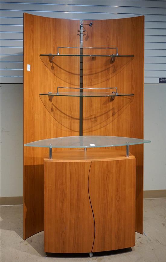 Modern Cherry Veneer Bi-Fold Illuminated Display Shelf and a Glass Top Side Cabinet