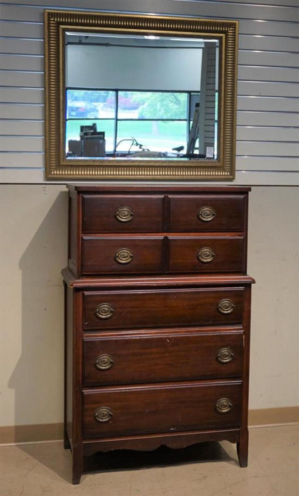 Federal Style Mahogany Tall Chest, a Giltwood Mirror and a New Haven Wall Clock