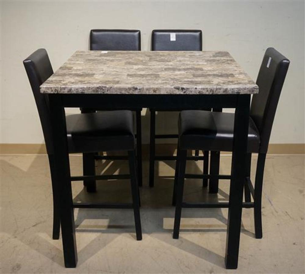 Modern Faux Granite Top Ebonized Base Bistro Table and Four Brown Leatherette Chairs