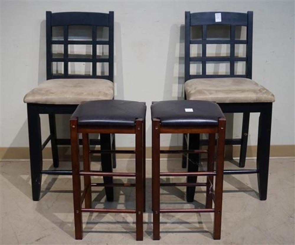 Two Modern Cherry Finish Brown Leather Stools and a Pair of Ebonized Wood Chairs