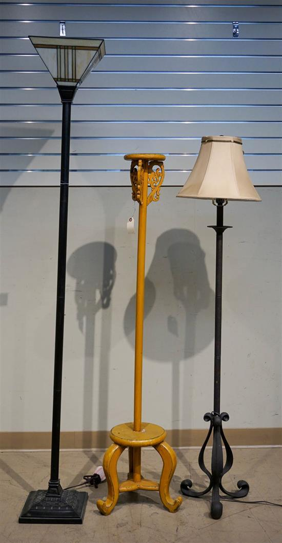 Two Patinated Metal Floor Lamps and an Asian Pricket Candlestand