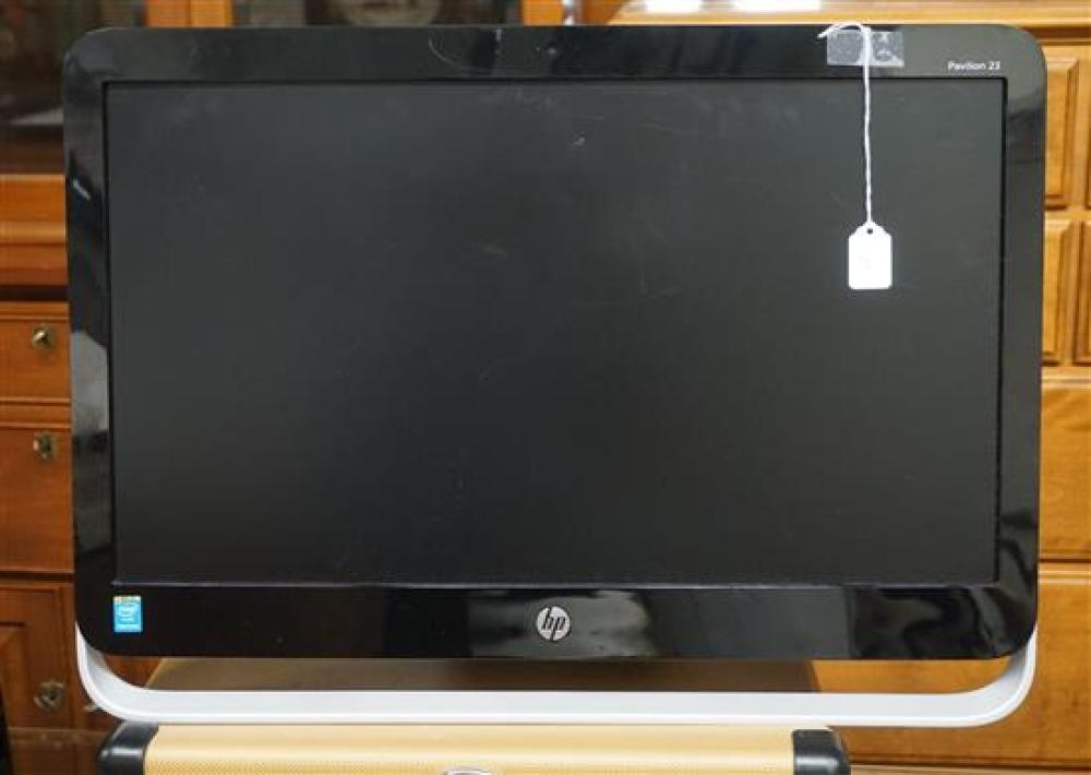 Three Computer Monitors, a Keyboard and Crosley Model CR49-TW Portable Phonograph