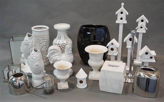 Group of White and Black Glazed Ceramic Table Articles, Miniature Birdhouses and other Table Articles