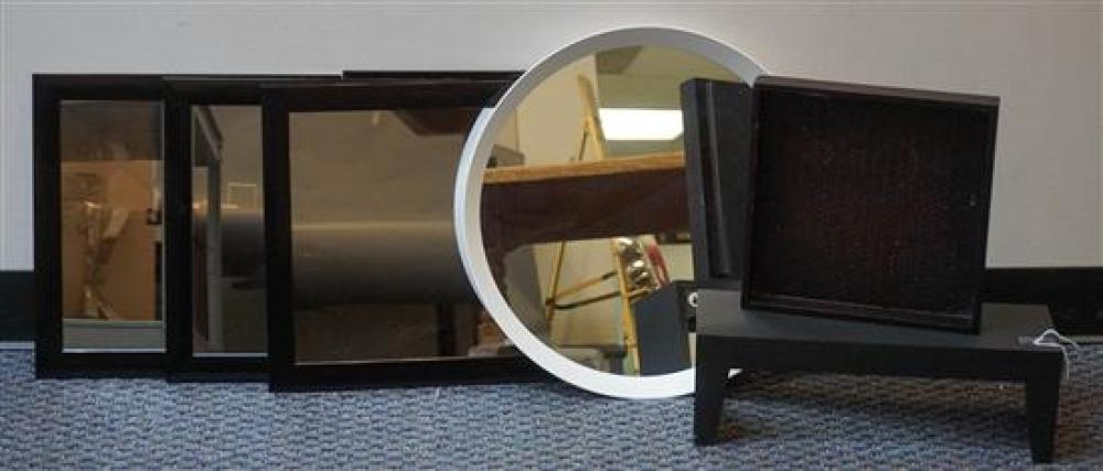 Round White Metal Mirror, Four Black Plastic Frame Mirrors, a Wall Shelf and a Tray