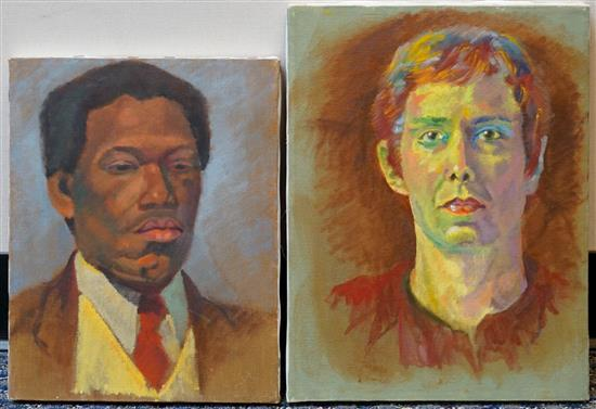 20th Century School, Portraits of Men, Two Unframed Oils on Canvas