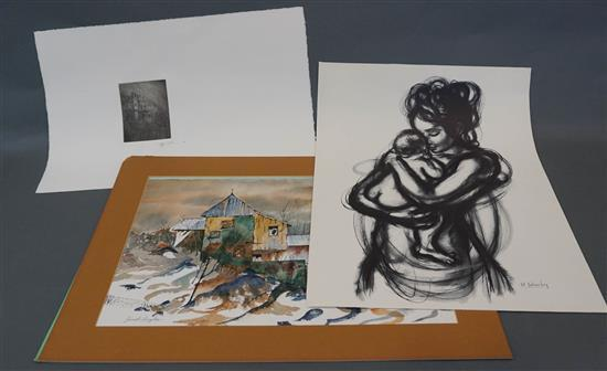 Three Picture Frames, Two Unframed Watercolors and an Unframed Etching by David Watkins Price