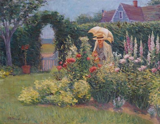 Brian A. Becken (American b. 1949), Lady in Garden