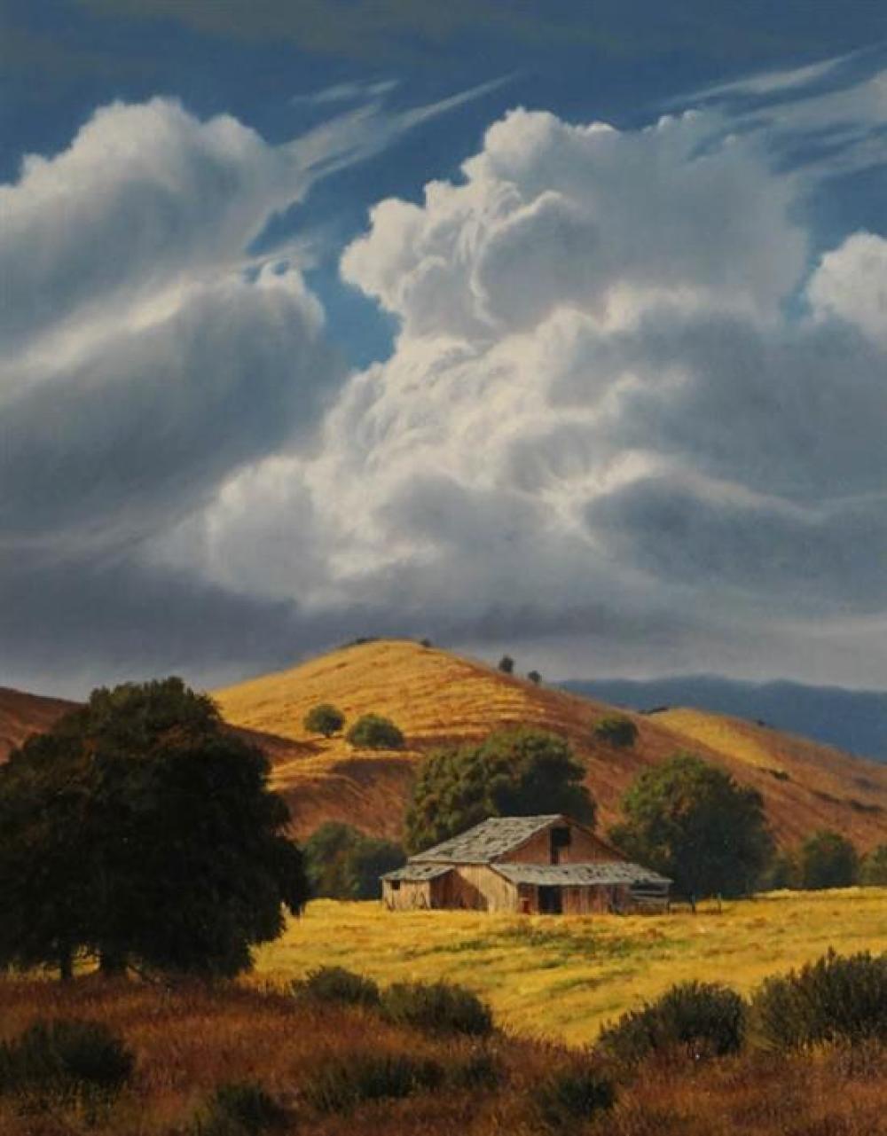 Mark Geller (American b. 1947), Barn in a Hilly Landscape